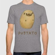 Pugtato Mens Fitted Tee Tri-Grey X-LARGE