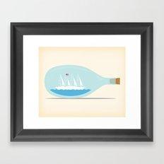 Yacht in a Bottle Framed Art Print