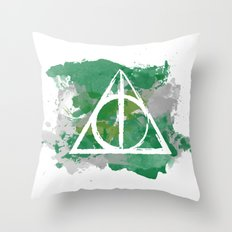 The Deathly Hallows (Slytherin) Throw Pillow