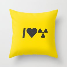 I Love Radiation Throw Pillow