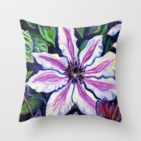 Nelly Moser (Clematis) Throw Pillow