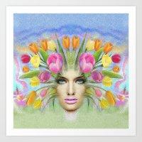 Woman Flowers Colors Art Print