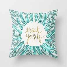Treat Yo Self – Gold &… Throw Pillow