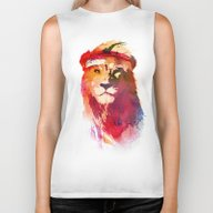 Biker Tank featuring Gym Lion by Robert Farkas
