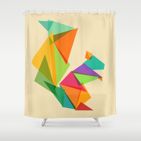 Fractal geometric Squirrel Shower Curtain