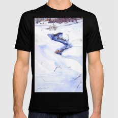 Open Stream In Winter SMALL Black Mens Fitted Tee