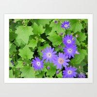 Purple Flowers On Leafy … Art Print