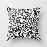 Bunnies & Skulls Throw Pillow