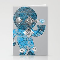 mesmerized by the light blue diamond Stationery Cards