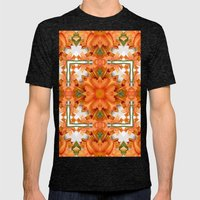 Abstract kaleidoscope of a beautiful day lily Mens Fitted Tee Tri-Black SMALL