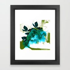 blue flowers and green abstract Framed Art Print