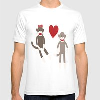 Sock Monkey Love Mens Fitted Tee White SMALL