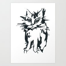 a threatening cat Art Print