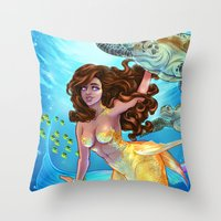 Hawaiian Mermaid Throw Pillow