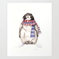 Baby Penguin In Red And … Art Print