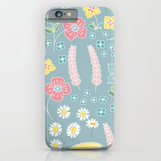 Mixed floral pattern on blue- homedec iPhone 6 Slim Case