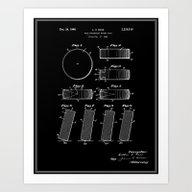 Hockey Puck Patent - Bla… Art Print