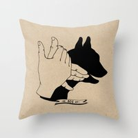 Hand-shadows Mr Dog Throw Pillow