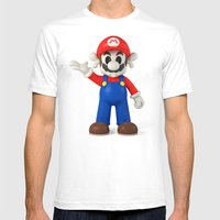 Skull Mario Mens Fitted Tee White SMALL