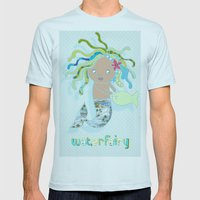 Water Fairy Mermaid Mens Fitted Tee Light Blue SMALL