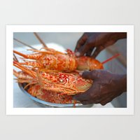 Jamaican Lobsters Art Print