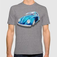 VW Beetle Blue Mens Fitted Tee Tri-Grey SMALL