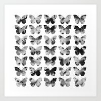 Butterflies Watercolor (black and white) Art Print
