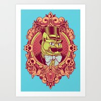 Hipster Mustache Cat Art Print