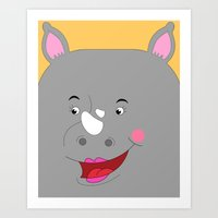 Rhino Female In Love Loo… Art Print