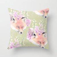 Fox & Foxgloves  Throw Pillow