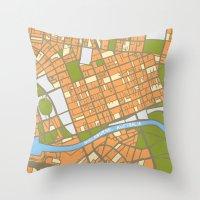 Vintage Style Map of Melbourne - ORANGE Throw Pillow