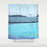 Swimming Pool Gull Shower Curtain