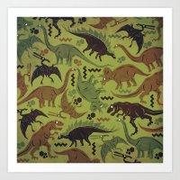 Camouflage Dinosaur Geom… Art Print