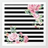 Floral Stripes Art Print