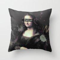 Mona Lisa SMILE Throw Pillow