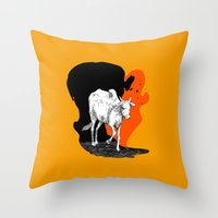 COW IS GOD Throw Pillow