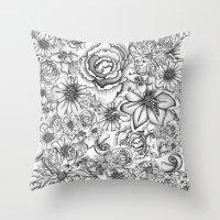B&W Flowers  Throw Pillow