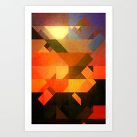 Retro Triangle and Texture Art Print