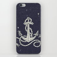 Navy Blue Nautical White Anchor for Sailor Texture iPhone & iPod Skin