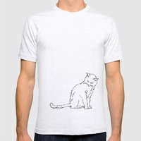 Cat illustration Mens Fitted Tee Ash Grey SMALL