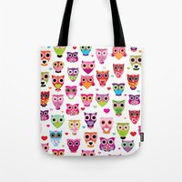 Cute colorful retro style owl illustration pattern Tote Bag