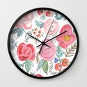 Watercolor Floral Print Wall Clock