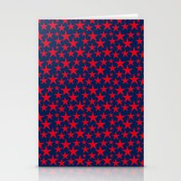 Red stars on bold blue background illustration Stationery Cards