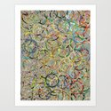 Rainbow Circles Collage Art Print