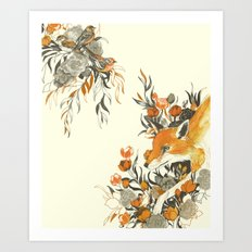 fox in foliage Art Print