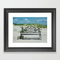 Beach Bench Framed Art Print