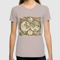 Old Map Of World Hemisph… Womens Fitted Tee Cinder SMALL