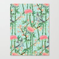 Bamboo, Birds And Blosso… Canvas Print