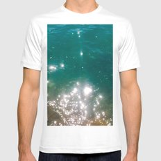 The color of the sea White SMALL Mens Fitted Tee