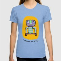 I want to pee! Womens Fitted Tee Tri-Blue SMALL
